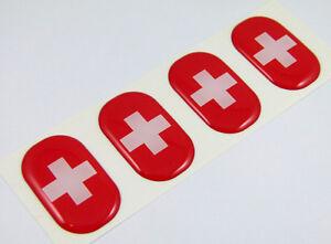 "Switzerland midi Swiss domed decals flag 4 emblems 1.5/""x1/"" Car bike stickers"
