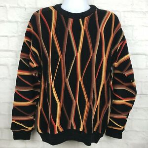 Vintage-Herren-Grobstrick-Pullover-Pulli-Large-schwarz-orange-gestreift-Biggie-Bill-Cosby