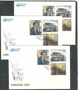 PAINTINGS-ON-FAROE-ISLAND-1985-Sc-127-129-ON-FDC-LOT-OF-3