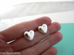 Image Is Loading Tiffany Amp Co Silver Puffed Puff Heart Earrings