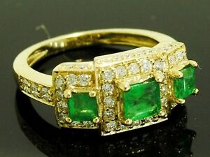 s-R181-Genuine-18K-Yellow-Gold-Natural-EMERALD-amp-DIAMOND-Trilogy-Ring-size-9-5