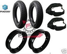 A526 CERCHI RUOTE NERE + COPERTONI 3.50 10 D795  VESPA PX 125 150 200 - APE 50cc