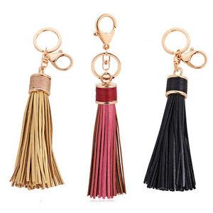 Bag Accessories Leather Tassel Charm Car Key Chain Ring Handbag Pendant