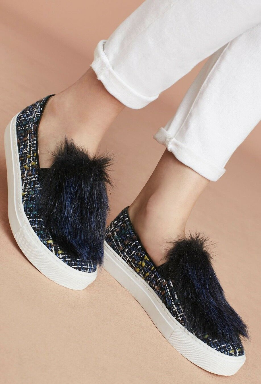 NEW Anthropologie Bettye blue Tweed Textured Faux Fur Trimmed Slip In Sneaker 7