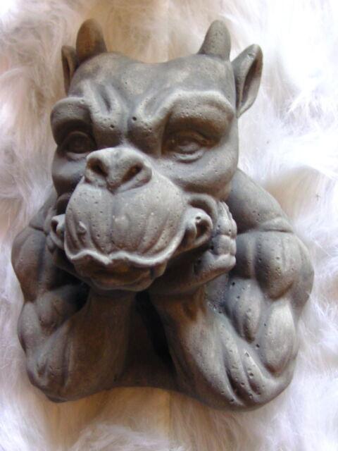 TEUFEL HORN  B-Ware NEU Gargoyle Torwächter Steinguß Steinfigur Wandhänger