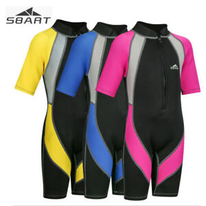 e4d6ab567a Details about Kids 2mm Neoprene Wetsuits One-Piece Short Sleeve Jumpsuit Thermal  Swimwear