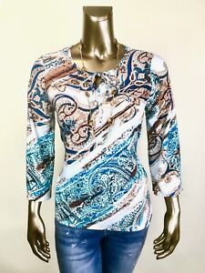 CHICO-039-S-NWT-SIZE-2-L-BLUE-BROWN-MEDALLION-PAISLEY-TIE-NECK-3-4-BELL-SLV-TOP