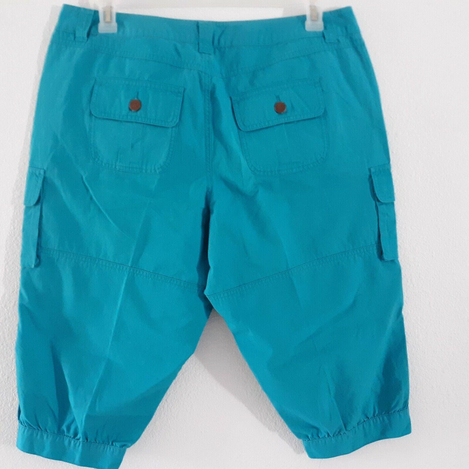 Venezia Turquoise Blue Cargo Capri Pants Women's … - image 7