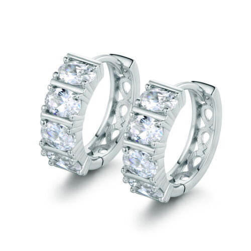 Classic Silver 18K White Gold Filled Hoop Oval Diamond Topaz Women Lady Earrings