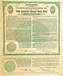 Lehigh Valley Terminal Railway 1949 green $1,000 gold bond extension certificate