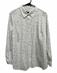 Talbots Button Down Shirt Star Patterned Top White Blouse Women's Plus Size 1X