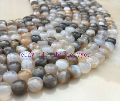 """New 4x6mm Natural Persian Lace Agate Coin Gemstone Faceted Loose Beads 15"""""""