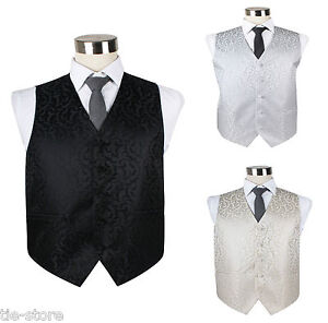 MENS-VEST-WAISTCOAT-SCROLL-VINE-PATTERN-WEDDING-TUXEDO-BLACK-WHITE-IVORY-SILVER