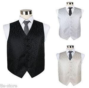 MENS-VEST-WAISTCOAT-SCROLL-VINE-PATTERN-WEDDING-TUXEDO-BLACK-WHITE-IVORY-SILVER