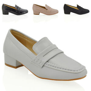Womens Ladies Loafers Moccasins Slip On Pumps Work Office School Shoes Size 3-8