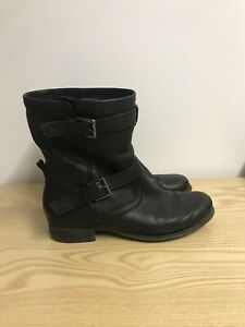 Details about Clarks Black Leather Ankle Boots Size 5 Biker Style Chelsea Boots
