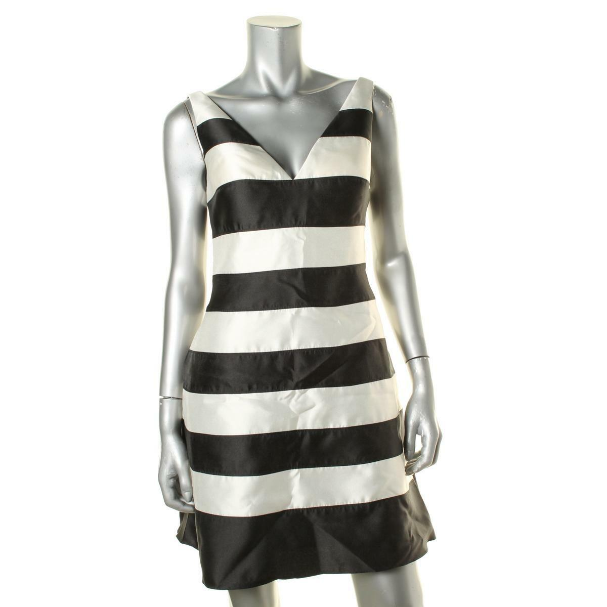 Adrianna Papell damen schwarz-Ivory Striped V-Neck Cocktail Dress 12 Retail