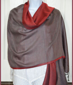 Hand-Woven-Double-Sided-Silk-Shawl-in-Red-and-Gray-Color-from-India