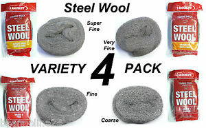Steel Wool Variety 4 Pack x 100g Rolls - Super Fine, Very Fine, Fine & Coarse