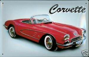 Corvette-Letrero-de-Metal-Placa-Signo-3D-en-Relieve-Arqueado-Lata-20-X-30CM