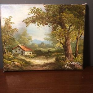 Original signed oil painting on canvas by I Cafier cottage in the woods - <span itemprop='availableAtOrFrom'>Swadlincote, United Kingdom</span> - Original signed oil painting on canvas by I Cafier cottage in the woods - Swadlincote, United Kingdom