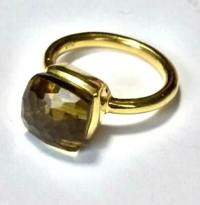 Whisky-Quartz-Ring-925-Silber-vergoldet-Gr-54