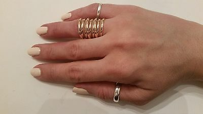 Trendy Unique Double Chevron Knuckle Ring Gold and Silver Plated Sizes 7,8,9