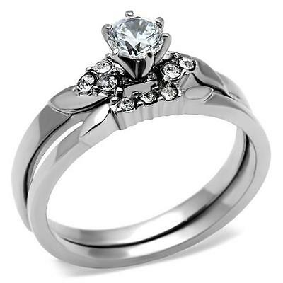 Stainless Steel Round CZ Wedding Engagement 2 PC Women's Ring & Band Set 5 - 10