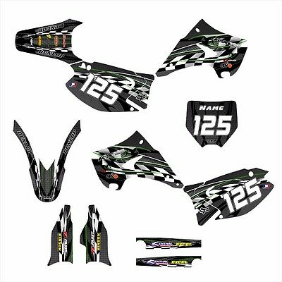 KAWASAKI KX 125 250 Graphics 2003-2015 for Black Plastics #2600 Green