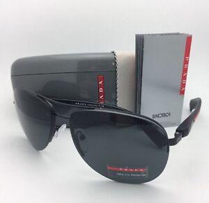 86890d9bc6252 New PRADA Sport Sunglasses SPS 56M 1BO-1A1 62-14 Black Aviator Frame ...