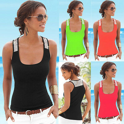 Fashion Womens Summer Sexy Vest Sequin Sleeveless Blouse Tank Beach Tops T-Shirt
