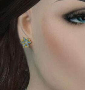 Light-Blue-Flower-Cloisonne-Stud-Pierced-Earrings