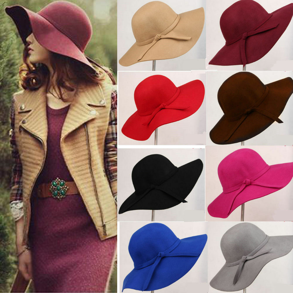 Vintage Women Wide Brim Floppy Warm Wool-look/effect Hat Trilby Bowler Cap Clothing, Shoes & Accessories
