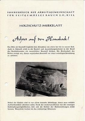 Achtet Auf Den Hausbock ! Holzschutz - Merkblatt 1953 GüNstige VerkäUfe