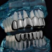 Black Grillz Set Top & Bottom Teeth Slugs Gunmetal Hip Hop Custom Mouth Grills