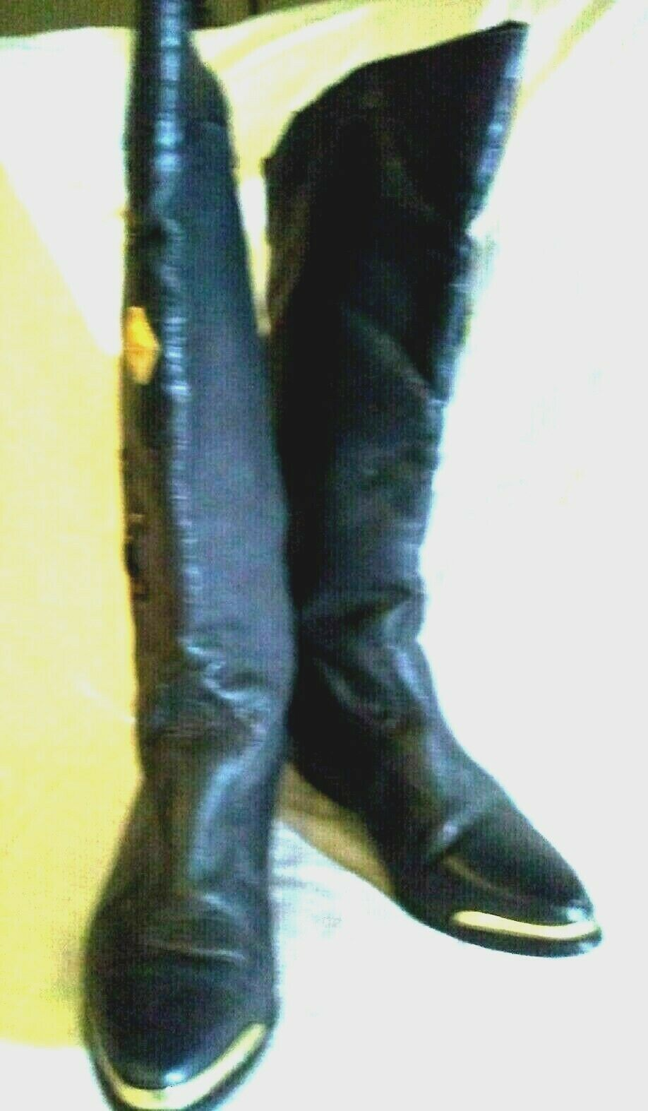 WILD PAIR BLACK LEATHER COWBOY BOOTS gold METAL TOE RAND & ACCENTS SIZE 5.5 B US