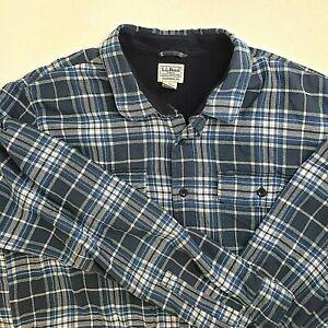 LL-Bean-Mens-2XLarge-Shirt-Fleece-Lined-Flannel-Black-Gray-Blue-Plaid-Button-Up