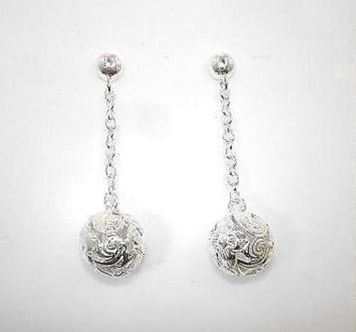 6mm Sterling Silver Hawaiian Pierced Plumeria Dangling Round Ball Post Earrings