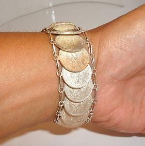 Vintage-Mexican-Silver-Coin-Bracelet-20-Centavos-71-3-gr-Hand-Made