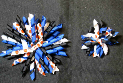 "3/"" /& 5"" NBA Themed Black\Royal\White Orlando Magic Korker Hair Bow"