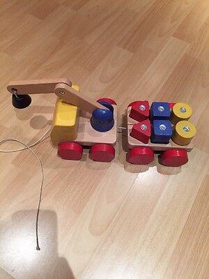 IKEA MULA Kran mit Klötzen aus Holz Spielzeug Spielsachen ...