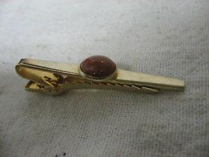 Vintage-ANSON-Gold-Tone-ORANGE-SPARKLE-JEWEL-BEAUTIFUL-Tie-Clip-Tie-Clasp