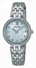 Pulsar Ladies Slim Dress Watch Chrome/Steel Swarovski Crystals PH8163 UK Seller