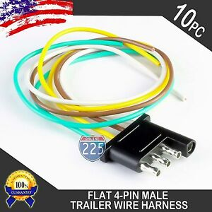 10x 16 male trailer end light wiring harness 18 awg gpt copper wire rh ebay com 4 Prong Trailer Wiring Diagram Trailer Wiring Kit