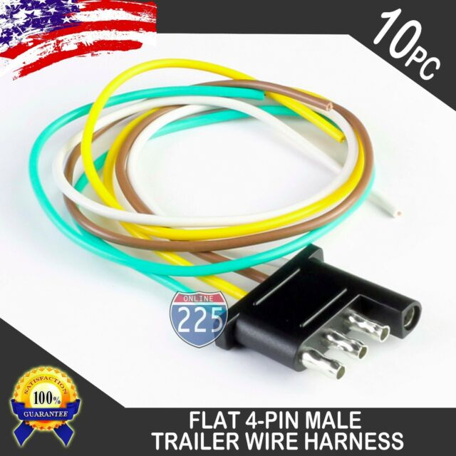 10x 16 U0026quot  Male Trailer End Light Wiring Harness 18 Awg Gpt Copper Wire 4