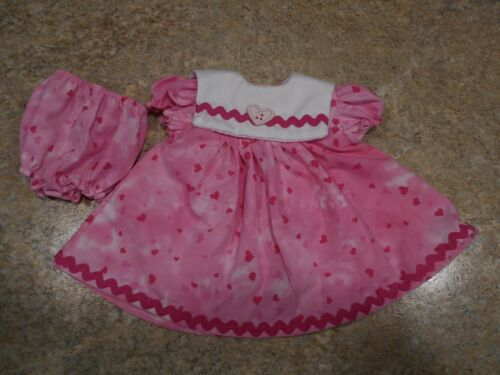 """VINTAGE CHATTY CATHY 18-20/"""" NEW HANDMADE 2 PC TINY PINK HEARTS ON PINK OUTFIT"""