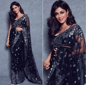 Indian-Bollywood-Wedding-Net-Saree-Beautiful-New-Sequence-Work-Sari-Blouse-PV