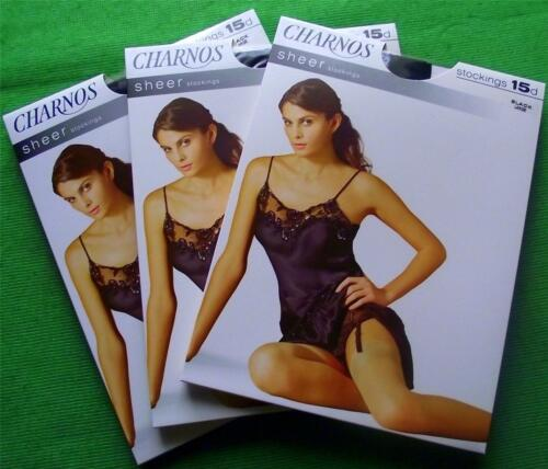 3 PAIRS SHEER BLACK HIGH QUALITY CHARNOS LARGE VINTAGE STOCKINGS WOW LARGE !