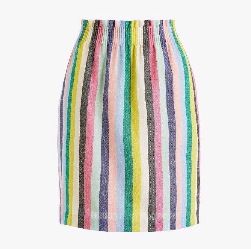 J.CREW Mixed Striped Paper Bag Skirt sz 4