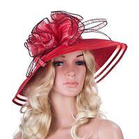 Women Dress Church Wedding Kentucky Derby Wide Brim Straw Summer Beach Hat A115